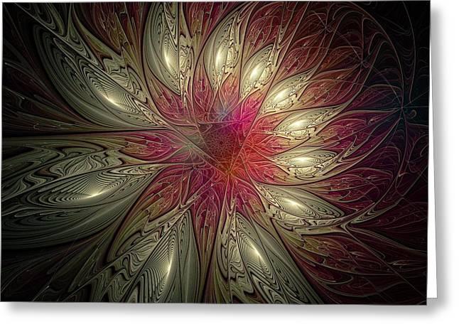 Floral Digital Art Digital Art Greeting Cards - Gold-Tipped Greeting Card by Amanda Moore
