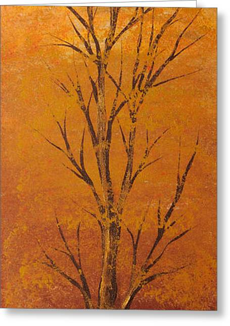 Landscape Posters Greeting Cards - Gold tree Greeting Card by Roni Ruth Palmer