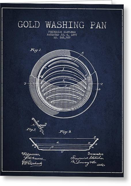 Gold Rush Greeting Cards - Gold Washing Pan Patent Drawing from 1897 Greeting Card by Aged Pixel