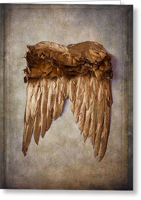 Gold Angel Greeting Cards - Gold Wings Greeting Card by Garry Gay