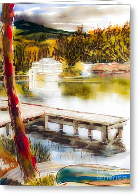 Escape Mixed Media Greeting Cards - Golden Afternoon Greeting Card by Kip DeVore