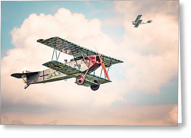 Aerobatics Greeting Cards - Golden Age of Aviation - Fokker D. 7 - World War I Greeting Card by Gary Heller