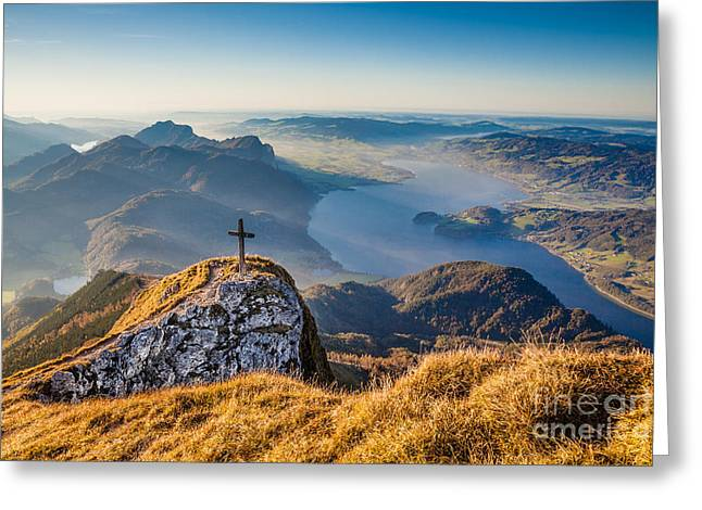 Swiss Cross Greeting Cards - Golden Alps Greeting Card by JR Photography