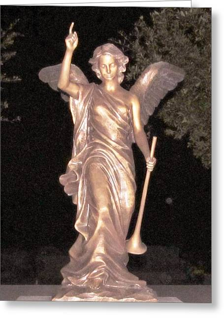 Night Angel Greeting Cards - Golden Angel In The Night Greeting Card by Donna Wilson