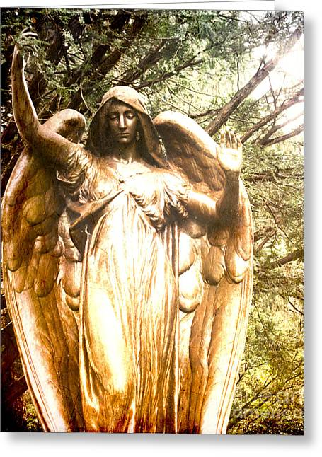 Gold Angel Greeting Cards - Golden Angel Greeting Card by Sonja Quintero