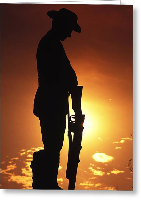 Silhouettes Greeting Cards - Golden Anzac Greeting Card by Sean Davey