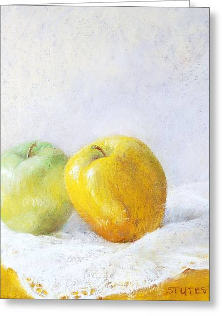 Apple Pastels Greeting Cards - Golden Apple Greeting Card by Nancy Stutes
