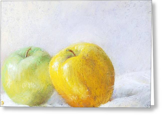 Golden Apple Greeting Card by Nancy Stutes
