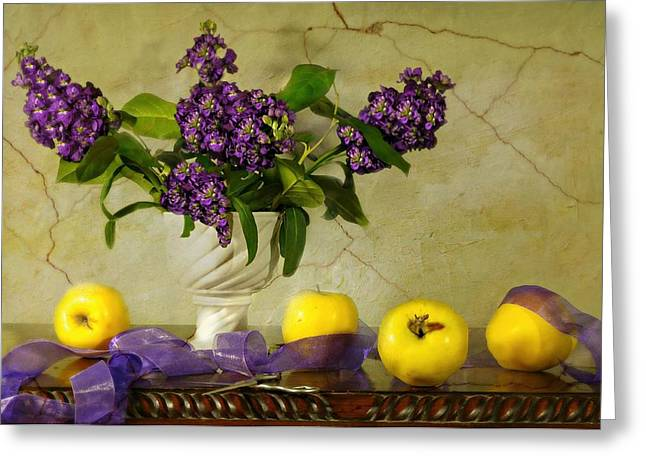 Vase Of Flowers Greeting Cards - Golden Apples Greeting Card by Diana Angstadt