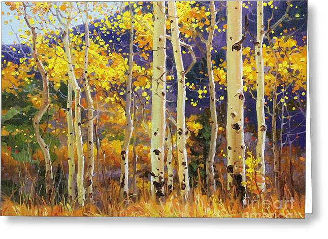 Birch Tree Greeting Cards - Golden Aspen w. Mystical Purple Greeting Card by Gary Kim
