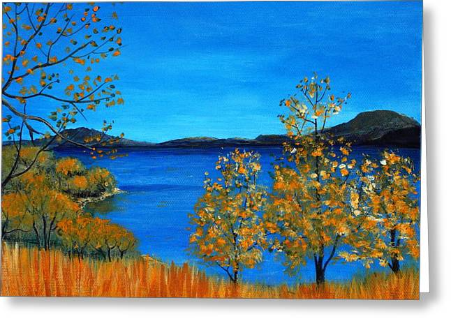 Fall Scenes Drawings Greeting Cards - Golden Autumn Greeting Card by Anastasiya Malakhova