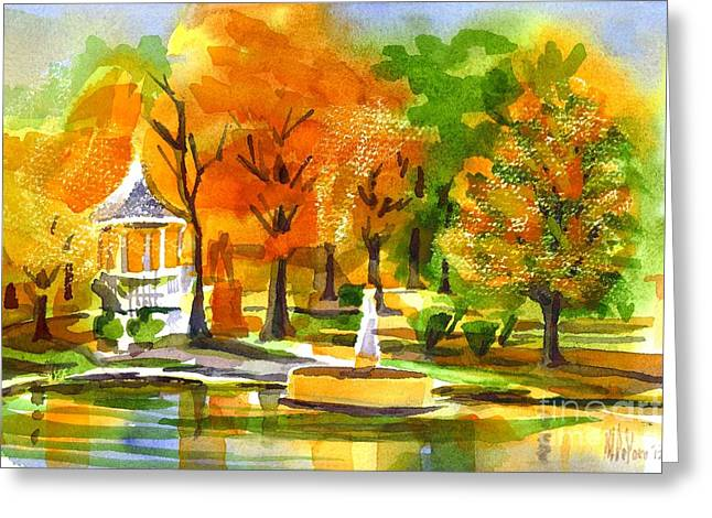 Reflection On Pond Greeting Cards - Golden Autumn Day 2 Greeting Card by Kip DeVore