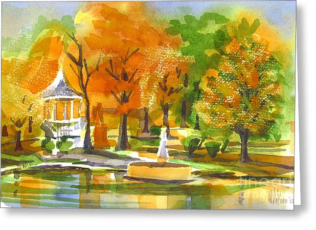 Reflection On Pond Greeting Cards - Golden Autumn Day Greeting Card by Kip DeVore