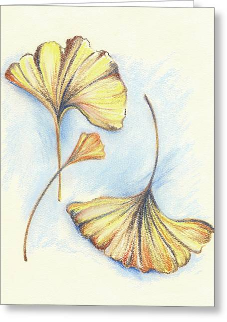 Yellow Leaves Pastels Greeting Cards - Golden Autumn Ginkgo Leaves Greeting Card by MM Anderson