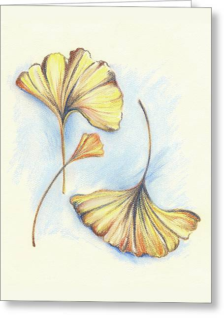 Fall Colors Pastels Greeting Cards - Golden Autumn Ginkgo Leaves Greeting Card by MM Anderson