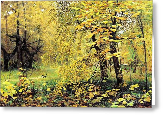 Turning Leaves Greeting Cards - Golden  Autumn Greeting Card by Pg Reproductions