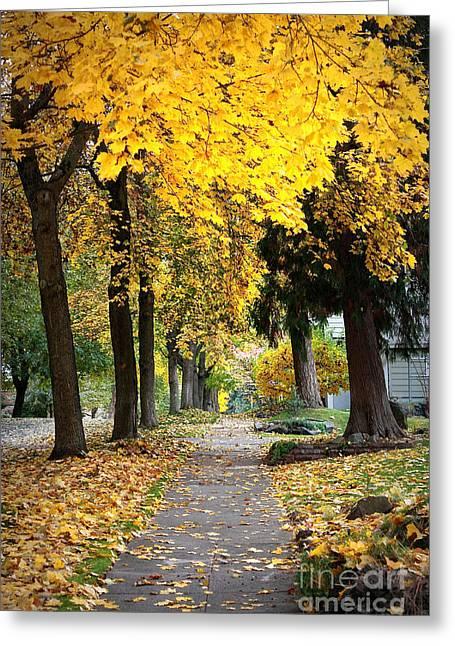 Spokane Greeting Cards - Golden Autumn Sidewalk Greeting Card by Carol Groenen