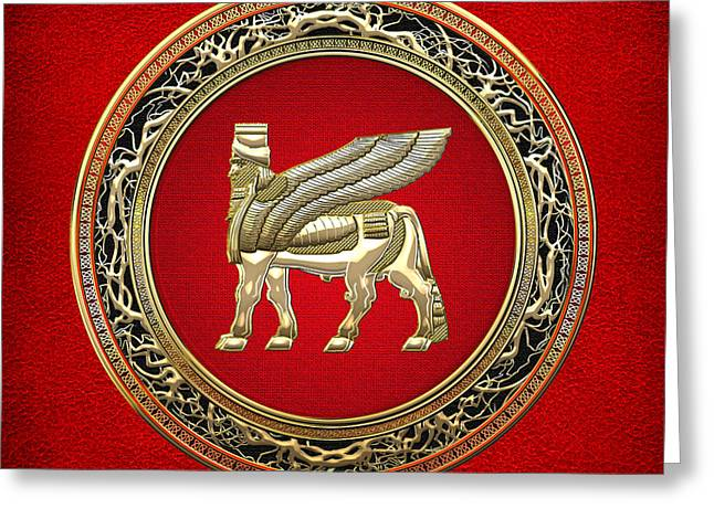Amulets Greeting Cards - Golden Babylonian Winged Bull  Greeting Card by Serge Averbukh