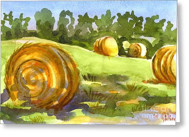 Shadows Cast Greeting Cards - Golden Bales in the Morning Greeting Card by Kip DeVore