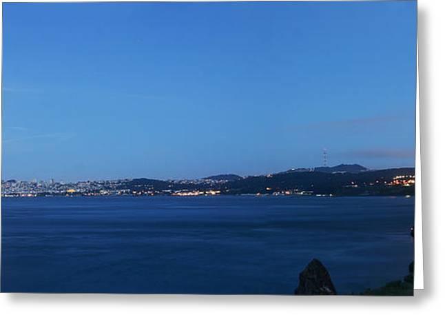 San Francisco Bay Pyrography Greeting Cards - Golden Bay Moon Greeting Card by Pobby Heglar