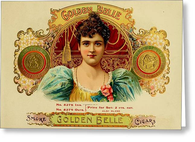 Belles Mixed Media Greeting Cards - Golden Belle Cigars Greeting Card by Vintage Art