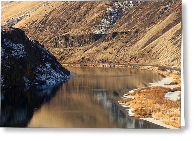 Yakima River Greeting Cards - Golden Bend Greeting Card by Mike  Dawson