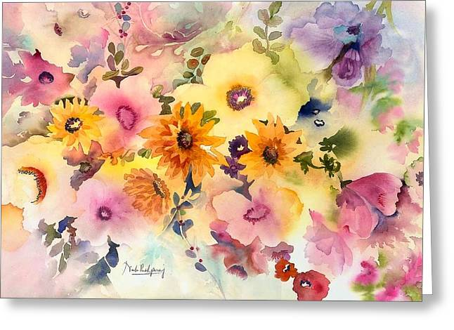 Pinks And Purple Petals Greeting Cards - Golden Blossoms Greeting Card by Neela Pushparaj