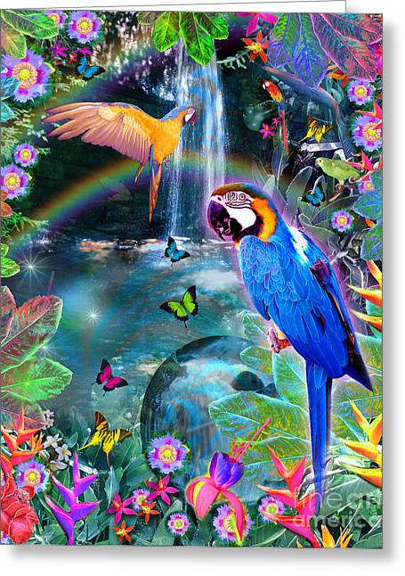 Mullin Greeting Cards - Golden Bluebirds Paradise Version 2 Greeting Card by Alixandra Mullins