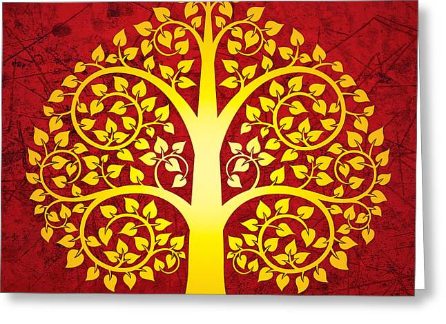 Thai Greeting Cards - Golden bodhi tree No.1 Greeting Card by Bobbi Freelance