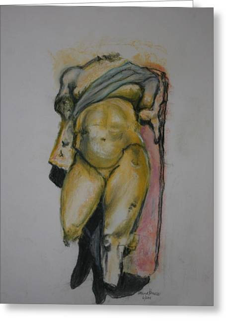 Greek Pastels Greeting Cards - Golden Boy Greeting Card by Donna Kerness
