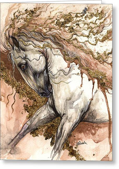 Horse Mixed Media Greeting Cards - Golden Brown  Greeting Card by Angel  Tarantella