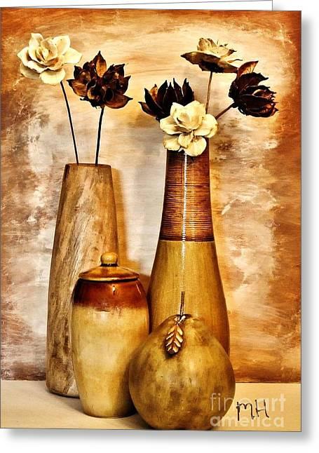 Mango Digital Greeting Cards - Golden Brown Toned Still Greeting Card by Marsha Heiken