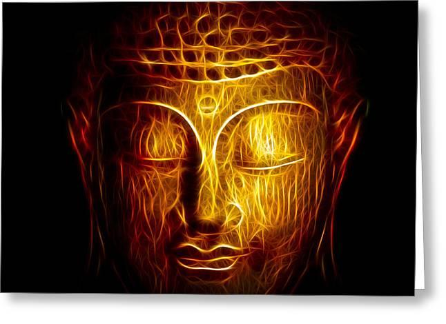 Modern Buddhist Art Greeting Cards - Golden Buddha Abstract Greeting Card by Adam Romanowicz