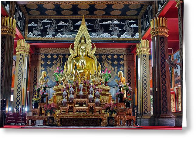 Bangkok Greeting Cards - Golden Buddha Greeting Card by Adam Romanowicz