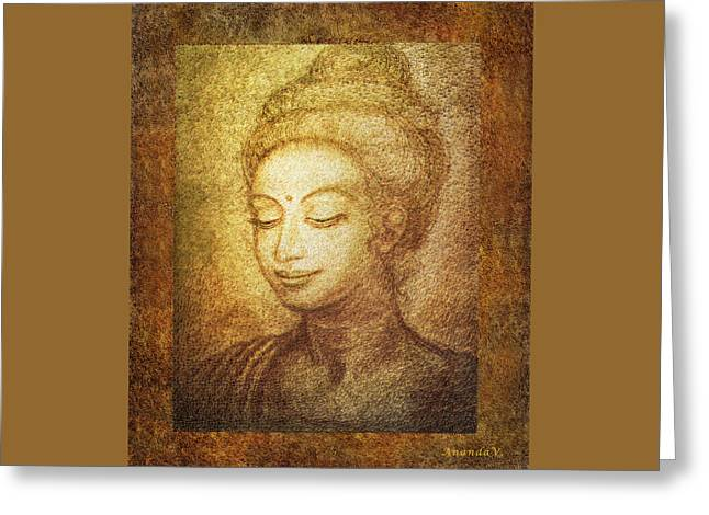 Golden Buddha Greeting Card by Ananda Vdovic