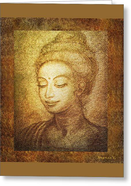 Siddharta Greeting Cards - Golden Buddha Greeting Card by Ananda Vdovic
