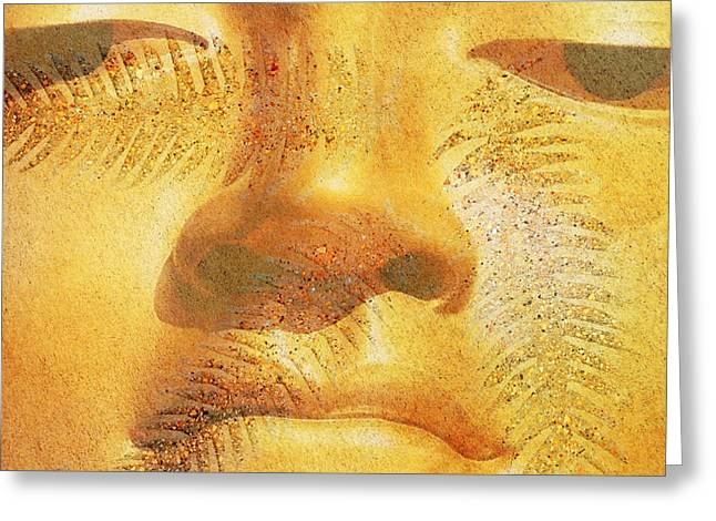 Wall Hangings Greeting Cards - Golden Buddha - Art By Sharon Cummings Greeting Card by Sharon Cummings