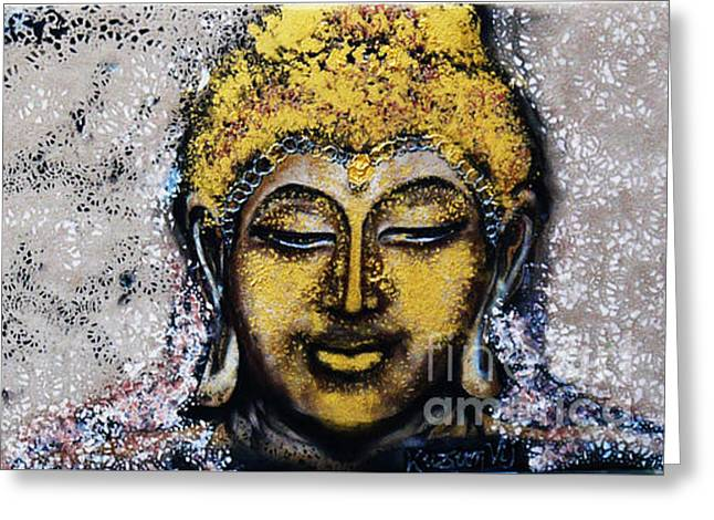 Religious Mixed Media Greeting Cards - Golden Buddha - Buddha in Youth Greeting Card by Kusum Vij