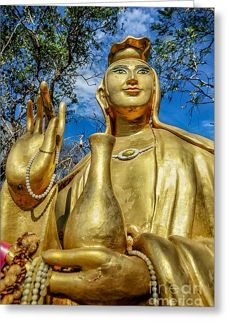 Religious Digital Greeting Cards - Golden Buddha Statue Greeting Card by Adrian Evans