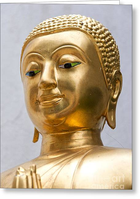 Statue Portrait Greeting Cards - Golden Buddha Statue Greeting Card by Antony McAulay