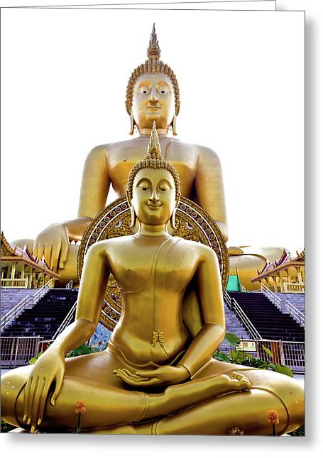 Human Spirit Greeting Cards - Golden Buddha Statue  Greeting Card by Tosporn Preede