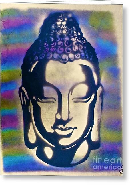 Metaphysics Greeting Cards - Golden Buddha Greeting Card by Tony B Conscious