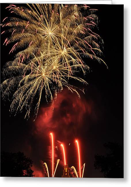 Bottle Rockets Greeting Cards - Golden Bursts and Ghostly Smoke Greeting Card by Kevin Munro