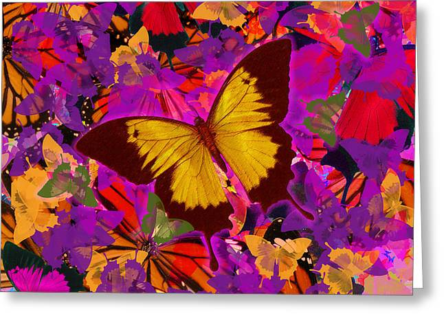 Golden Greeting Cards - Golden Butterfly Painting Greeting Card by Alixandra Mullins