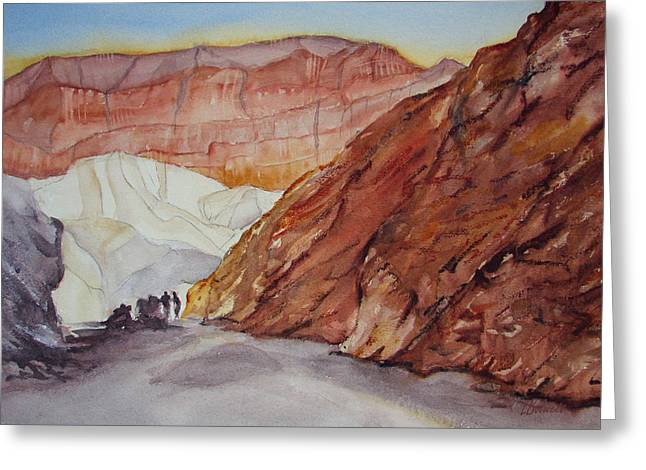 Lynne Bolwell Greeting Cards - Golden Canyon and Red Cathedral Greeting Card by Lynne Bolwell