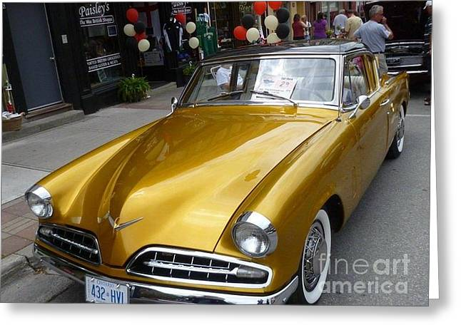 Sixties Style Automobile Greeting Cards - Golden car Greeting Card by Lingfai Leung