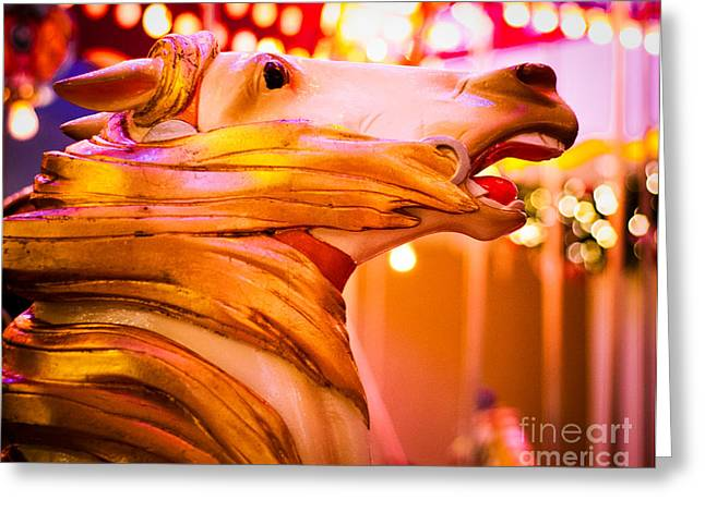 Gold Hair Greeting Cards - Golden Carousel Horse Greeting Card by Sonja Quintero