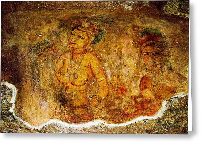 Sacred Body Greeting Cards - Golden Cave Painting in Sigiriya Greeting Card by Jenny Rainbow