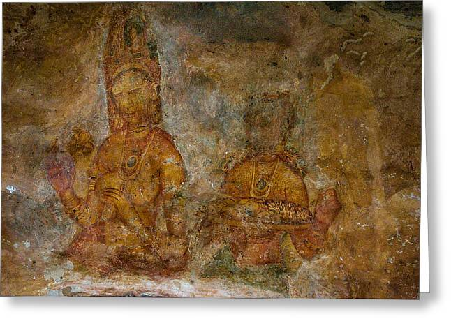 Ceylon Greeting Cards - Golden Cave Painting in Sigiriya. Sri Lanka Greeting Card by Jenny Rainbow