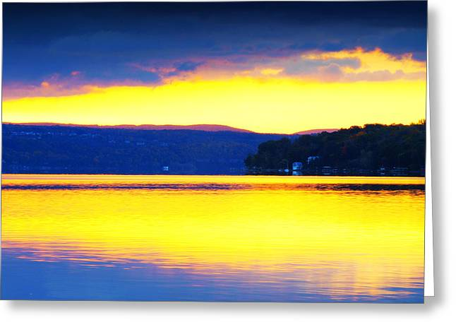 Pond In Park Greeting Cards - Golden Cayuga Lake Ithaca New York Greeting Card by Paul Ge